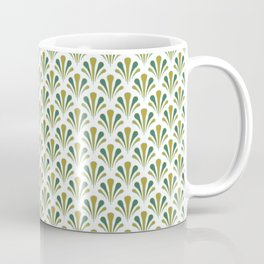Art Deco Style Golden Greens Blues Shells Fan Shape Pattern Coffee Mug