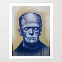 frankenstein Art Prints featuring frankenstein by FlacoGarcia