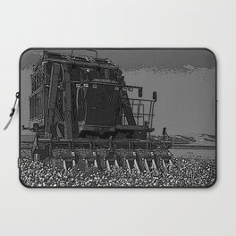 Black & White Cotton Harest Pencil Drawing Photo Laptop Sleeve