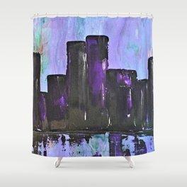 Purple City. Cyber Punk City. Jodilynpaintings Purple City Abstract Shower Curtain