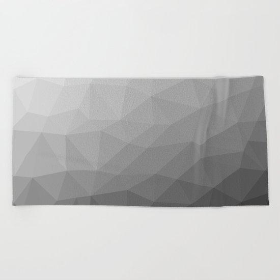 Grey Gradient Geometric Mesh Beach Towel