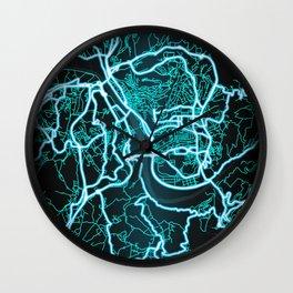 Coimbra, Portugal, Blue, White, Neon, Glow, City, Map Wall Clock