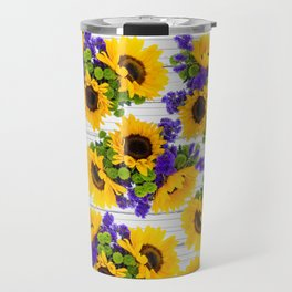 Rustic white wood purple yellow sunflower floral Travel Mug