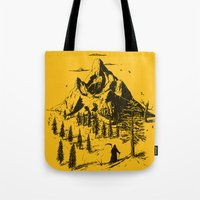 home sweet home Tote Bags featuring Home! Sweet Home! by nicebleed
