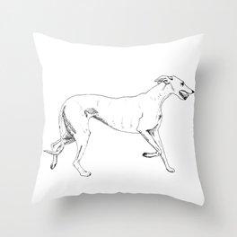 Greyhound Ink Drawing Throw Pillow