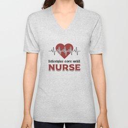 Intensive Care Unit Nurse ICU Emergency Medicine Unisex V-Neck