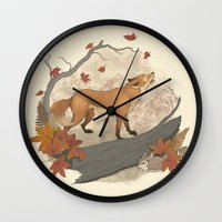 rabbit Wall Clocks featuring Fox and rabbit by Laura Graves