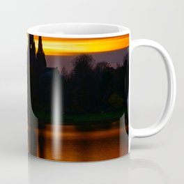 Fiery Sunset Reflection At The The Lichfield Cathedral Coffee Mug