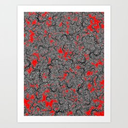 Centipede party red Art Print