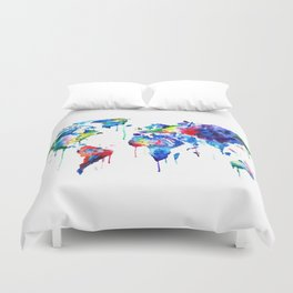 World Map, colorful Duvet Cover