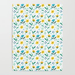 Summer flowers in yellow and blue in white background Poster