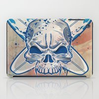 surfboard iPad Cases featuring skull on surfboard background by Doomko