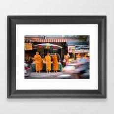 Three Buddhist Monks at the Market Framed Art Print