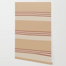 Cavern Clay SW 7701 and Creamy Off White SW7012 Horizontal Stripes on Ligonier Tan SW 7717 Wallpaper