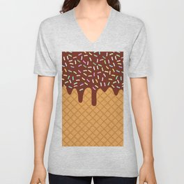 waffles with flowing chocolate sauce and sprinkles Unisex V-Neck