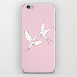 Two Swallows Line Art iPhone Skin