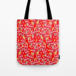 Tulips in red Tote Bag