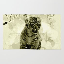 Cute little tiger baby, watercolor Rug