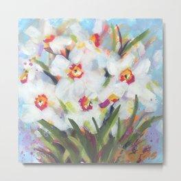 Little White Daffodils Metal Print