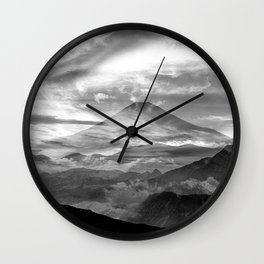 Surreal landscape art, black and white nature Wall Clock