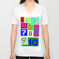 numbers V-neck T-shirts featuring FUNNY NUMBERS by Vivian Fortunato