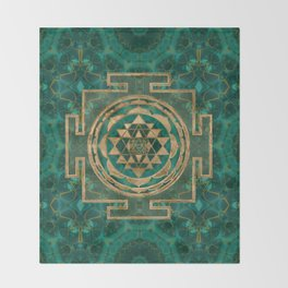 Sri Yantra  / Sri Chakra Malachite and gold Throw Blanket