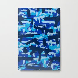 Military Camouflage Neck Gator Blue Camo Weapons Metal Print