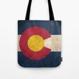 Old and Worn Distressed Vintage Flag of Colorado Tote Bag