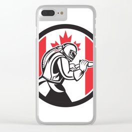 Sandblaster Abrasive Blasting Canada Flag Circle Clear iPhone Case