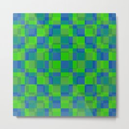 Squares Retro Style blue green Metal Print