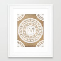 all you need is love Framed Art Prints featuring All You Need is Love by Jenndalyn
