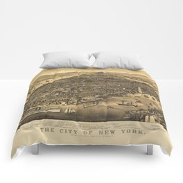 The City of New York by Currier & Ives (1889) Comforters