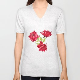 Three Red Roses Unisex V-Neck