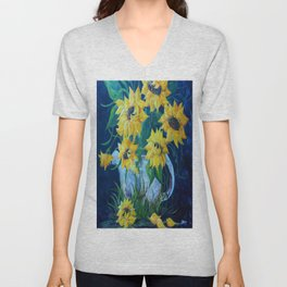 Sunflowers in a Country Pot Unisex V-Neck