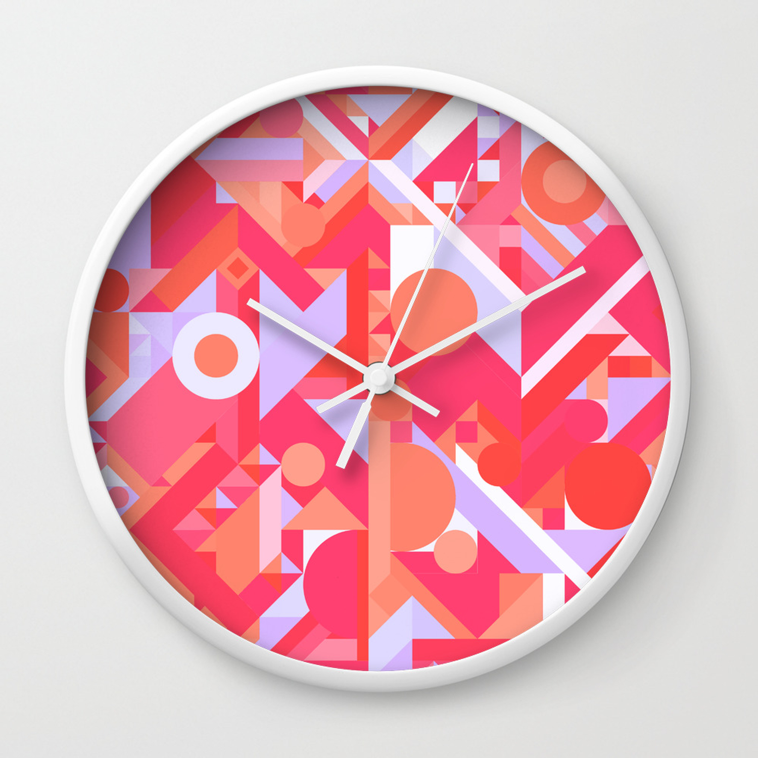 Geometry shapes pattern print warm red lavender color scheme wall clock