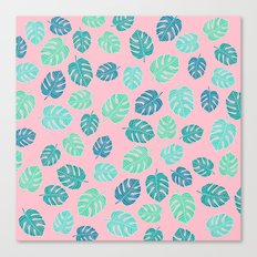 Modern tropical leaf monstera turquoise mint watercolor hand drawn illustration on pastel pink Canvas Print