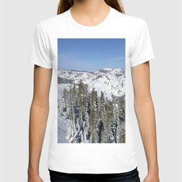 mountains wood lowland snow winter sky blue ate T-shirt