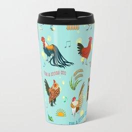 Cute seamless roosters pattern cartoon Travel Mug