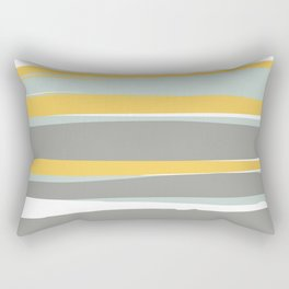 Stripe Abstract, Sun and Beach, Yellow, Pale, Aqua Blue and Gray Rectangular Pillow