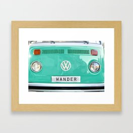 Wander van. Summer dreams. Green Framed Art Print