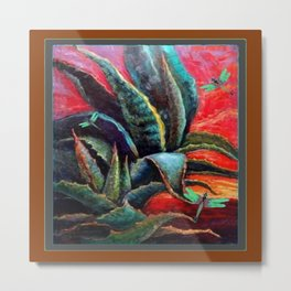 BROWN  DESERT AGAVE & BLUE DRAGONFLIES Metal Print