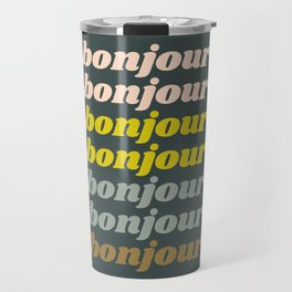 Bonjour in Pretty Pastels Travel Mug