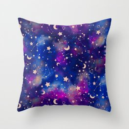 Zodiac - Watercolor Dark Throw Pillow