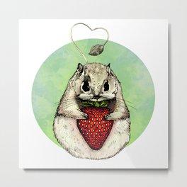Squirrels love strawberries Metal Print
