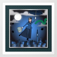 mary poppins Art Prints featuring Mary Poppins by Vannina