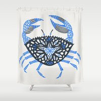 crab Shower Curtains featuring Blue Crab by Cat Coquillette