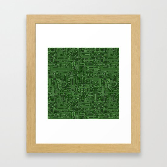 Circuit Board // Light on Dark Green by thinlinetextiles