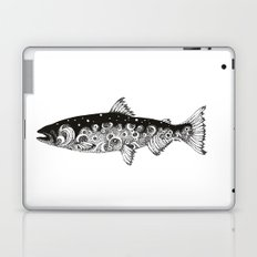 Wild Salmon, Hidden scene, dot-work, pointillism, stippling, Ocean, River, Stream, Fish, Waves Laptop & iPad Skin
