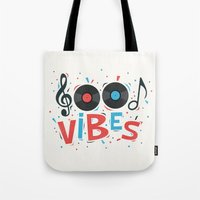 good vibes Tote Bags featuring Good Vibes by Word Quirk