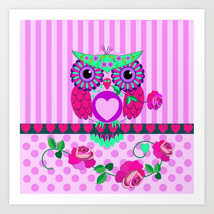Romantic Valentine S Day Owl With Roses And Patterns Art Print By